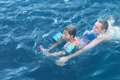 Swimming with child